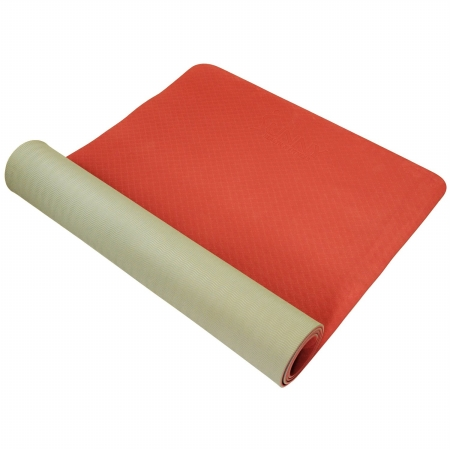 NO. 071G TPE Exercise Yoga Mat - Grey & Marsala