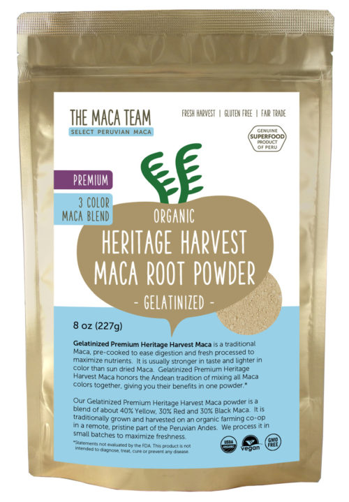 Organic Gelatinized Premium 3 Color Maca Powder - 8 oz