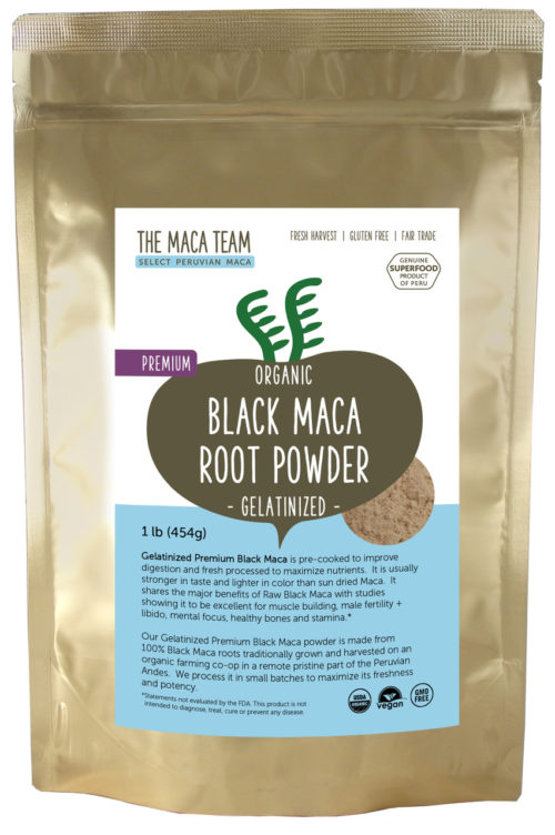 Organic Gelatinized Premium Black Maca Powder - 1 LB