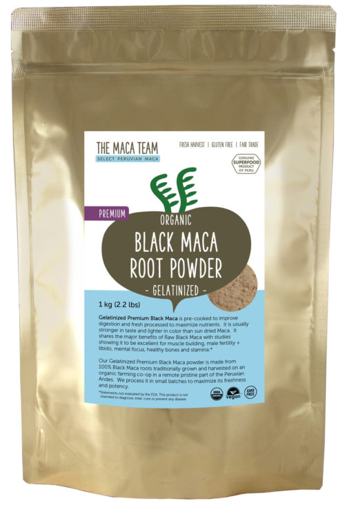 Organic Gelatinized Premium Black Maca Powder - 1 kg