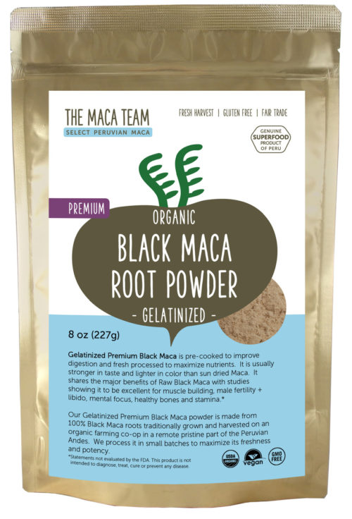 Organic Gelatinized Premium Black Maca Powder - 8 OZ