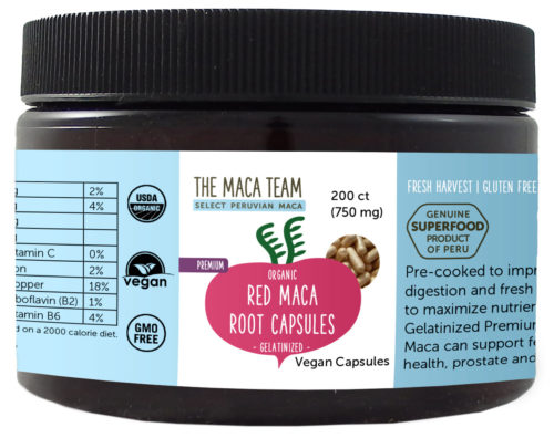 Organic Gelatinized Premium Red Maca Capsules - Vegan - 750 mg - 200 ct