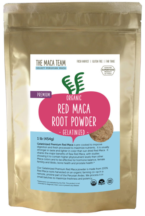 Organic Gelatinized Premium Red Maca Powder - 1 lb