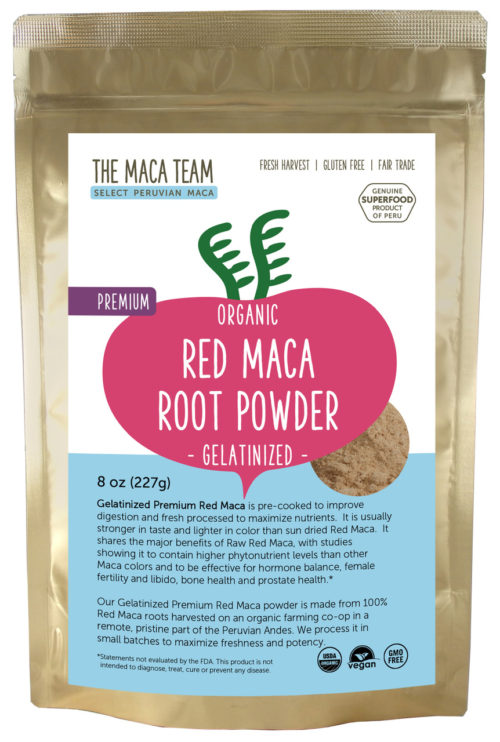Organic Gelatinized Premium Red Maca Powder - 8 oz