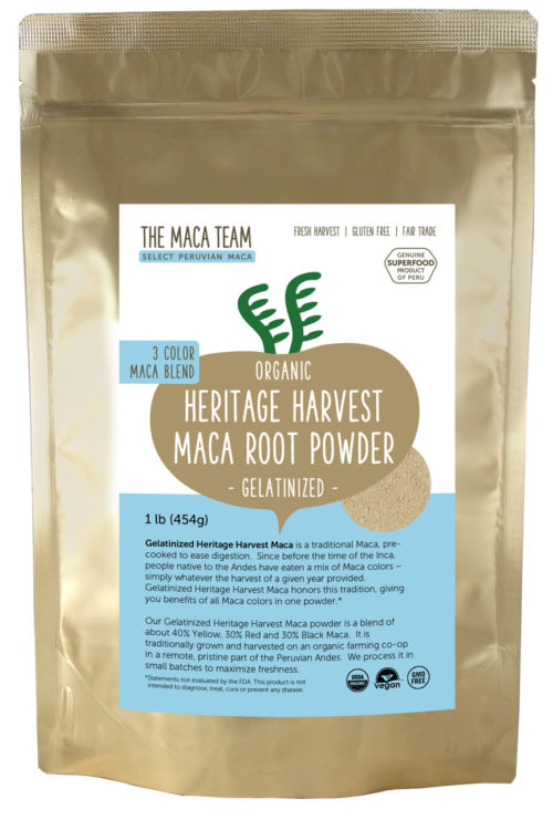 Organic Gelatinized Sundried 3 Color Maca Powder - 1 lb