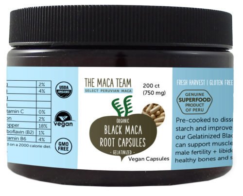 Organic Gelatinized Sundried Black Maca Capsules - Vegan - 750 mg - 200 ct