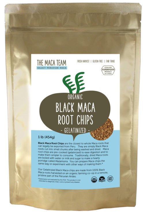Organic Gelatinized Sundried Black Maca Chips 1 lb