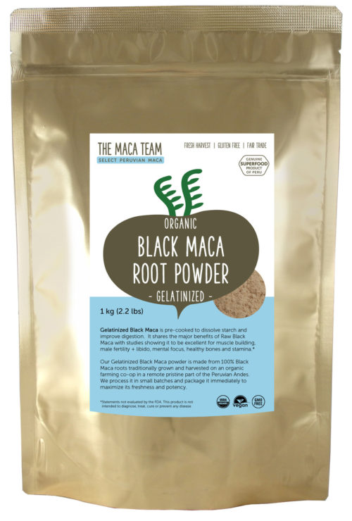 Organic Gelatinized Sundried Black Maca Powder - 1 kg
