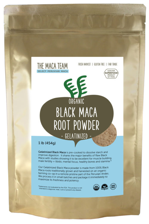 Organic Gelatinized Sundried Black Maca Powder - 1 lb