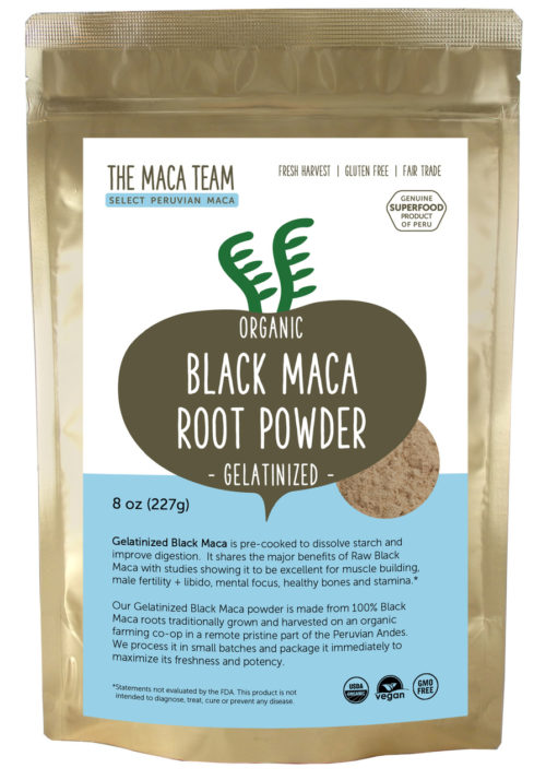 Organic Gelatinized Sundried Black Maca Powder - 8 oz