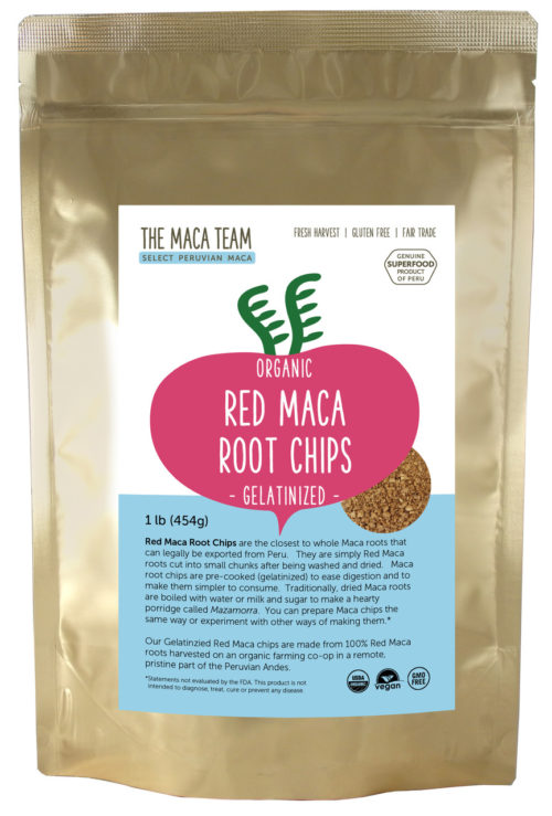 Organic Gelatinized Sundried Red Maca Chips 1 lb