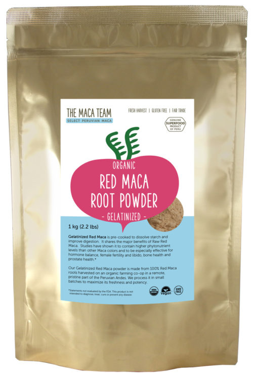Organic Gelatinized Sundried Red Maca Powder - 1 kg