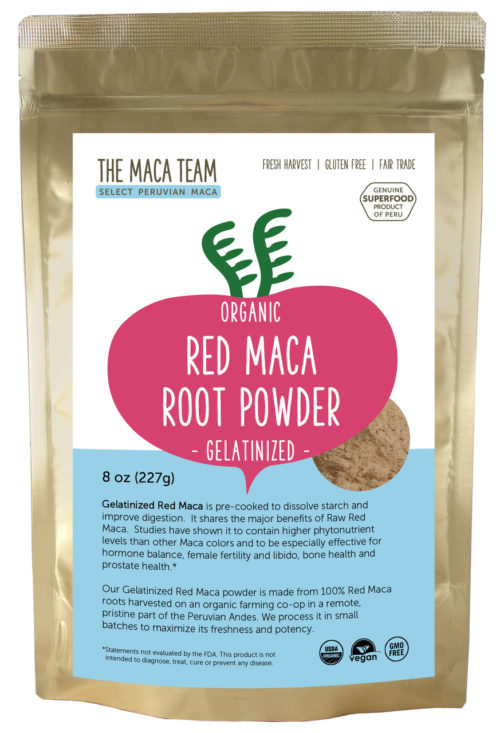 Organic Gelatinized Sundried Red Maca Powder - 8 oz