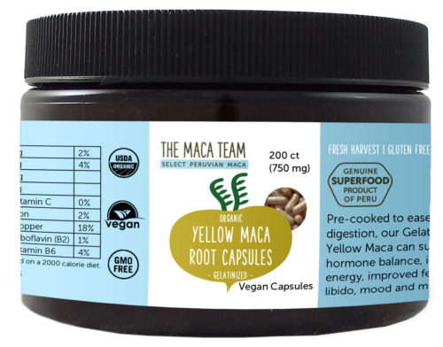 Organic Gelatinized Sundried Yellow Maca Capsules - Vegan - 750 mg - 200 ct
