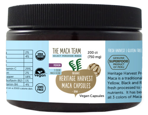Organic Raw Premium 3 Color Maca Capsules - Vegan - 750 mg - 200 ct