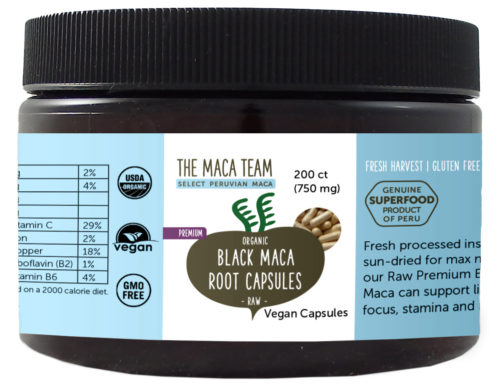 Organic Raw Premium Black Maca Capsules - Vegan - 750 mg - 200 ct