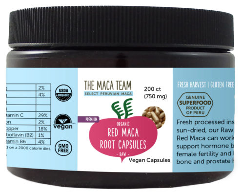Organic Raw Premium Red Maca Capsules - Vegan - 750 mg - 200 ct