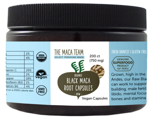 Organic Raw Sundried Black Maca Capsules - Vegan - 750 mg - 200 ct
