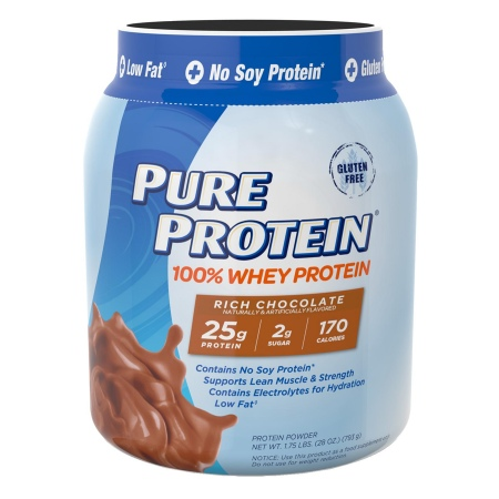 Pure Protein 100% Whey Protein Shake Powder Rich Chocolate - 28 oz.