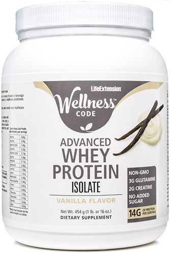 Wellness Code Advanced Whey Protein Isolate - Vanilla Flavor 454 grams, powder by Life Extension