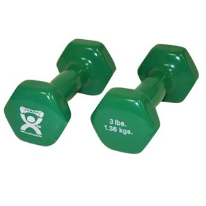 CanDo CanDo-10-0552-2 3 lbs Vinyl Coated Dumbbell, Green - 1 Pair