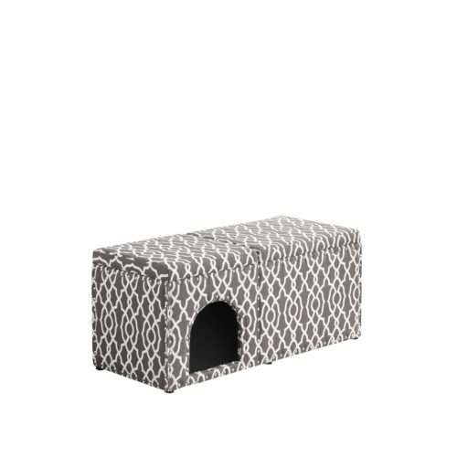 HB4802 18 in. Cassidy Smoky Gray Pet Housing with Storage Bench