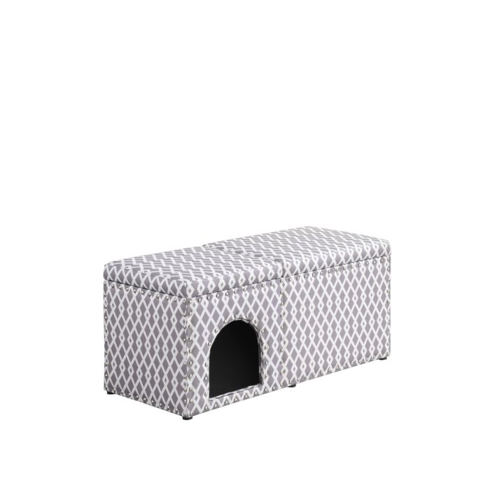 HB4803 18 in. Horizontal Gray Pet Housing with Storage Bench