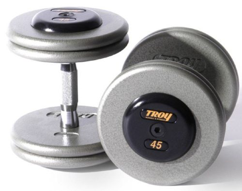 Troy Barbell HFD-32.5R Pro-Style Dumbbells - Gray Plates And Rubber End Caps - 32.5 Pounds Each - Sold as Pairs
