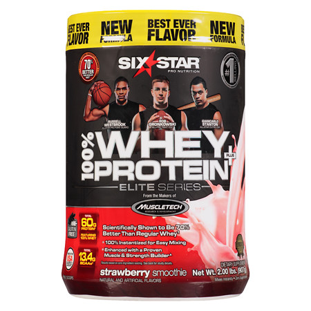 Six Star Elite Series Whey Protein+ Dietary Supplement Powder Strawberry Smoothie - 2.0 lb