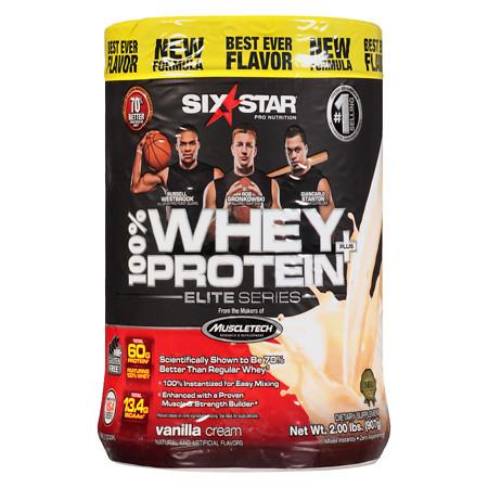 Six Star Elite Series Whey Protein+ Dietary Supplement Powder Vanilla Cream - 2.0 lb