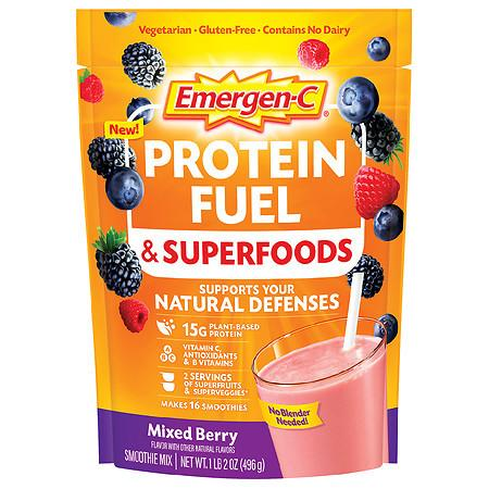 Emergen-C Protein Fuel & Superfoods Plant-Based Shake Mix with Vitamin C Mixed Berry - 17.5 oz