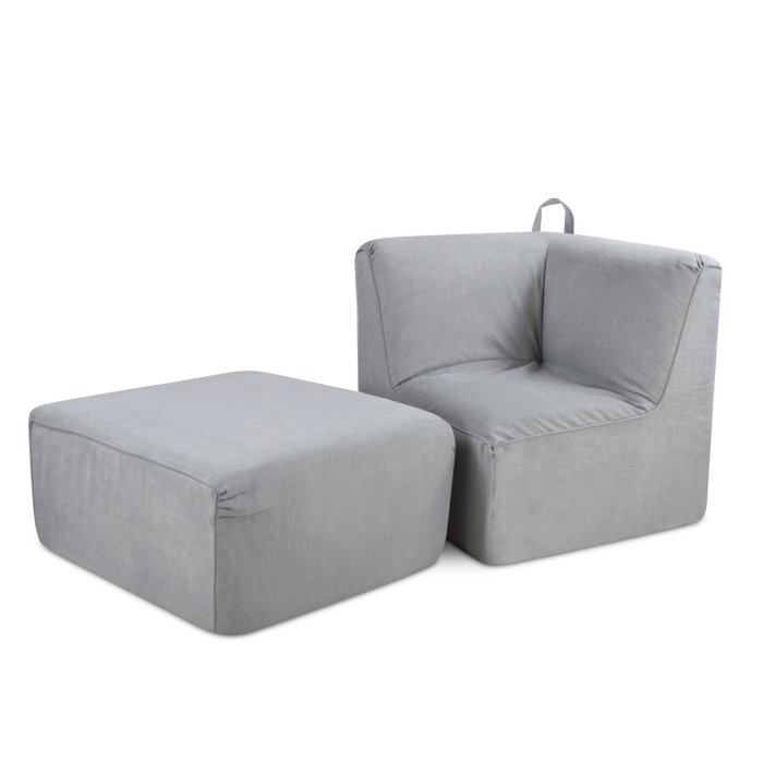 Kangaroo Trading 4500-03MG Tween Foam Ottoman & Corner Seat with Handle - Merino Grey