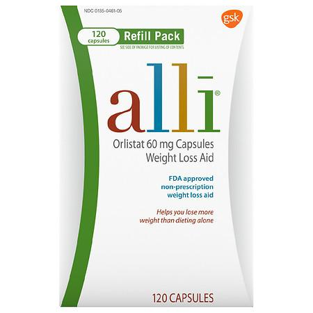 Alli Diet Weight Loss Supplement Pills, Orlistat - 120.0 ea