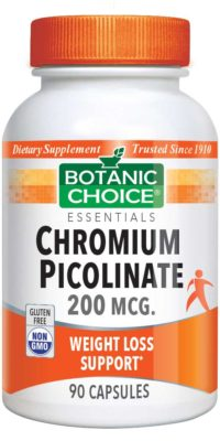 Botanic Choice Chromium Picolinate 200 mcg. - Weight Loss Support Supplement - 90 Capsules