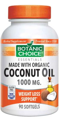 Botanic Choice Coconut Oil, Organic 1000 mg - Weight Loss Support Supplement - 90 Softgels