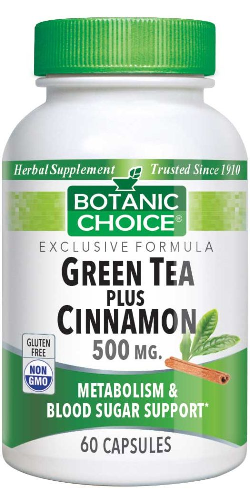 Botanic Choice Green Tea Plus Cinnamon - Weight Loss & Blood Sugar Support Supplement - 60 Capsules