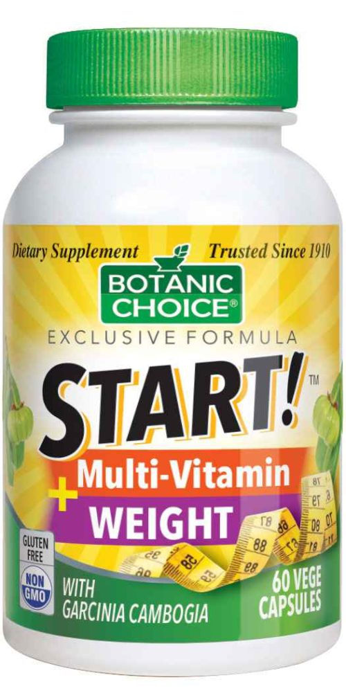 Botanic Choice START! Multi-Vitamin + Weight - Total Health Support Supplement - 60 Vegetarian Capsules