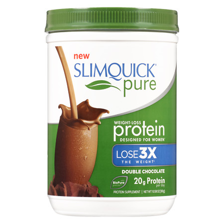 SlimQuick Pure Weight-Loss Protein Powder Chocolate, Double Chocolate - 10.58 oz.