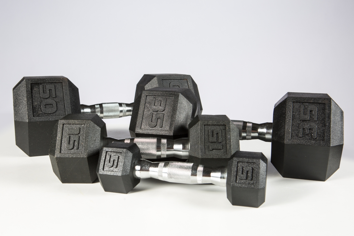 37030 5-50 lbs York Premium Pvc Hex Dumbbell with Chrome Ergo Handle Set